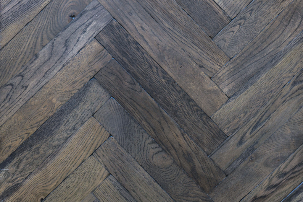 Antique Charcoal Grey Parquet, Distressed Solid Oak. +. Charcoal Grey