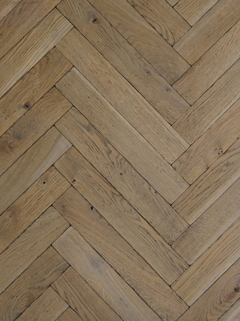 Antique Industrial Pale Grey Parquet, Distressed Solid Oak